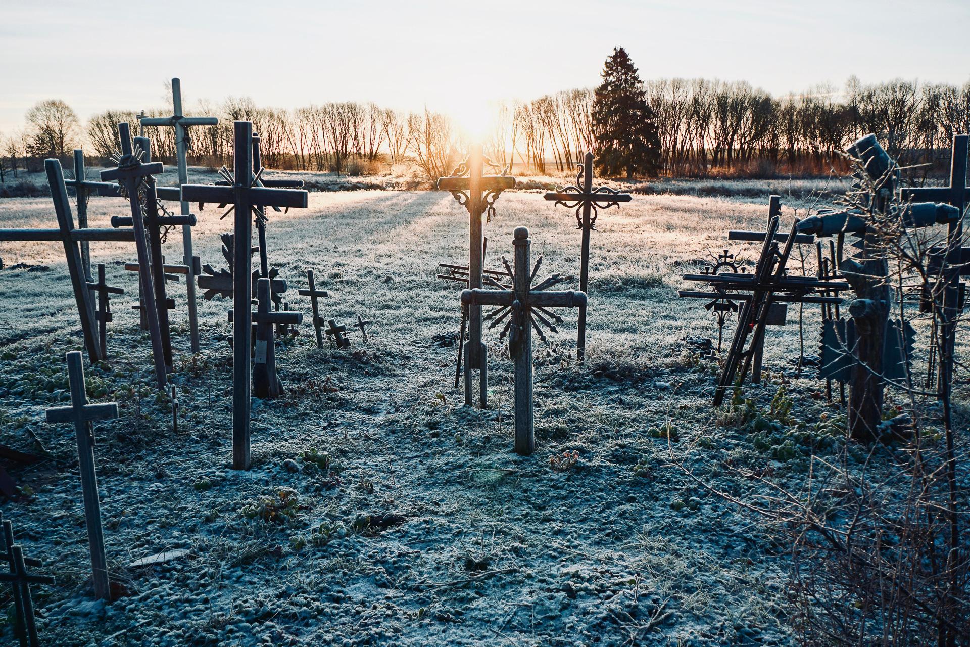 Minusgrade beim Hill of Crosses in Litauen