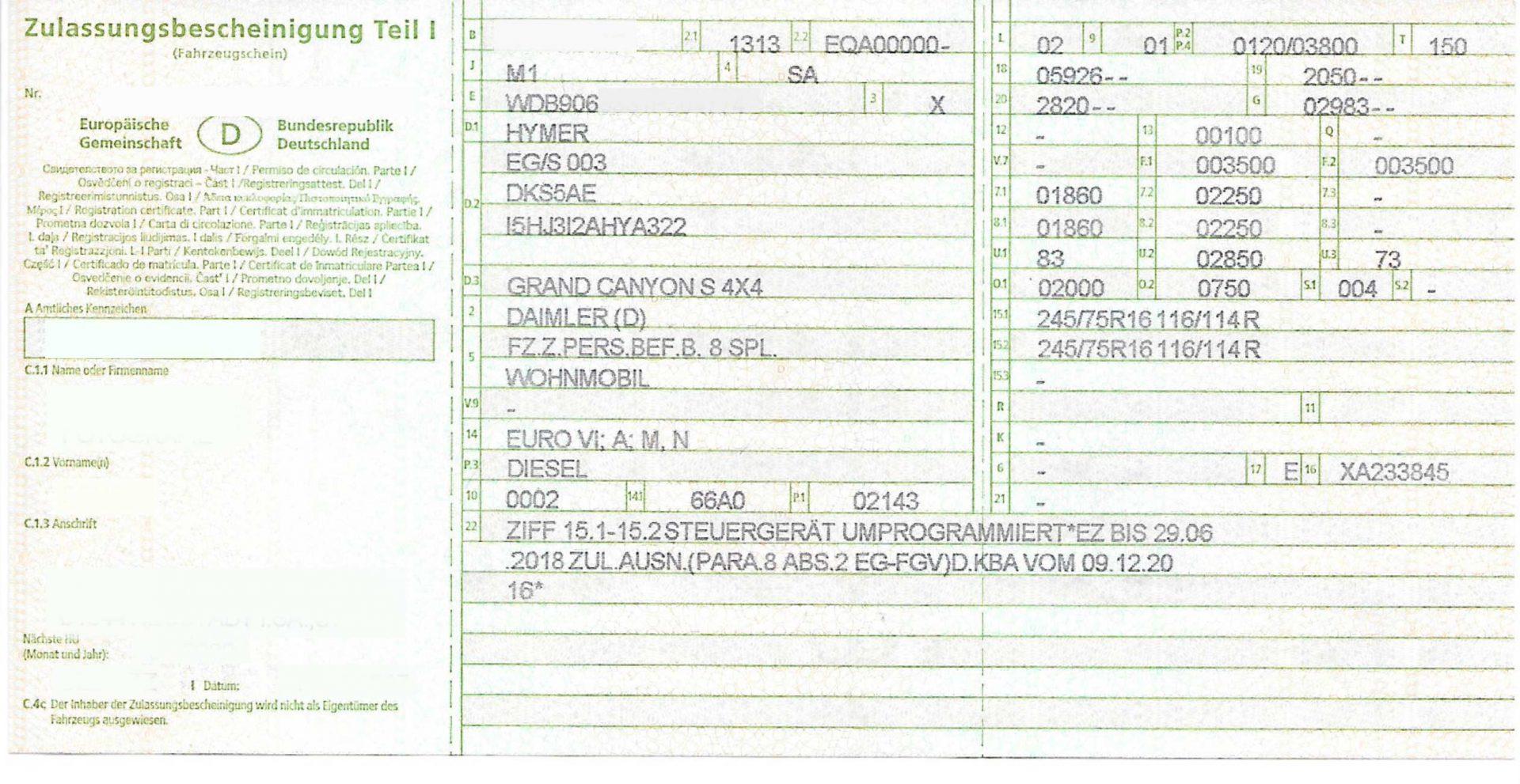 Kopie Zulassung, Eintrag 245/75/R16, Sprinter 906