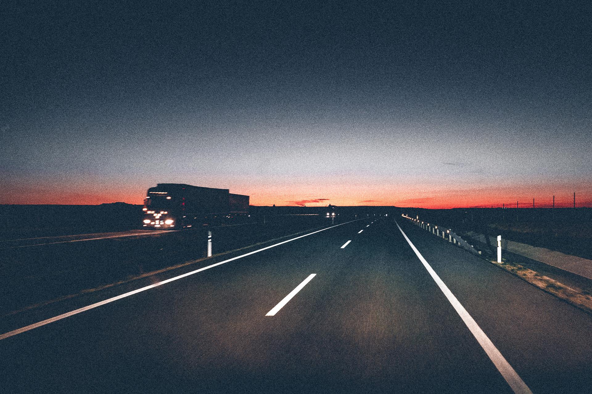 Sonnenuntergang auf dem Weg nach Portugal
